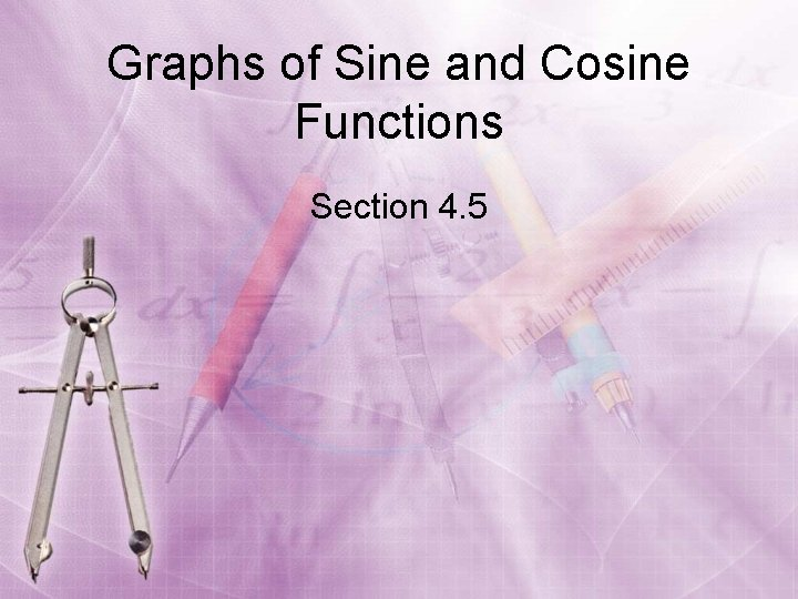 Graphs of Sine and Cosine Functions Section 4. 5