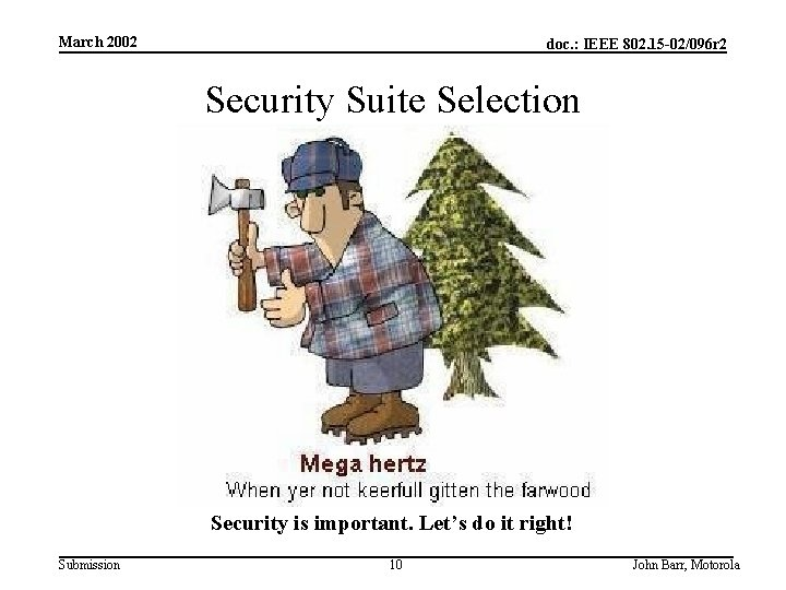 March 2002 doc. : IEEE 802. 15 -02/096 r 2 Security Suite Selection Security