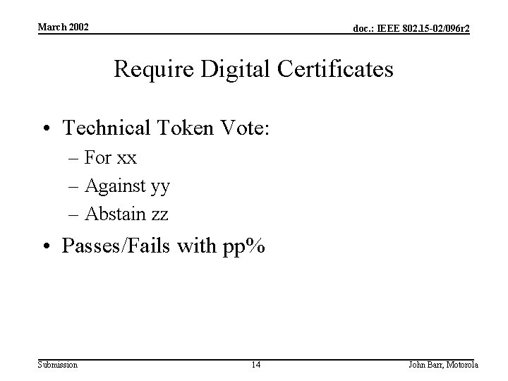 March 2002 doc. : IEEE 802. 15 -02/096 r 2 Require Digital Certificates •