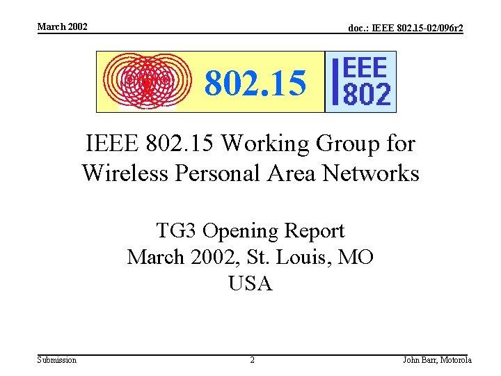 March 2002 doc. : IEEE 802. 15 -02/096 r 2 802. 15 IEEE 802.