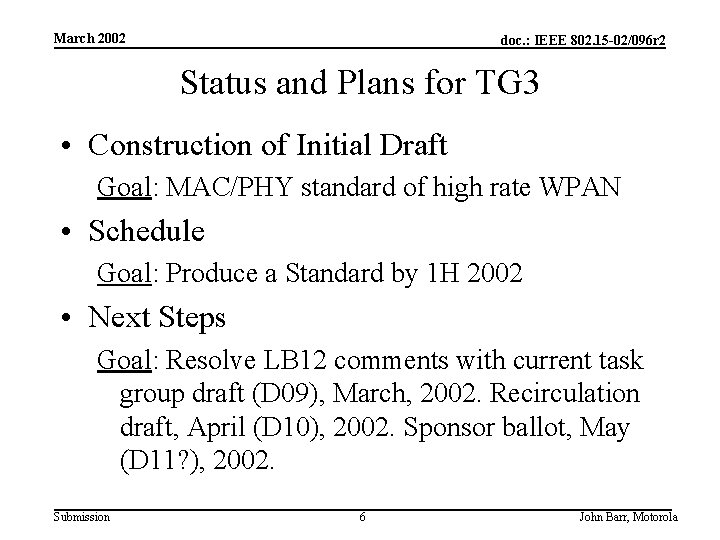 March 2002 doc. : IEEE 802. 15 -02/096 r 2 Status and Plans for