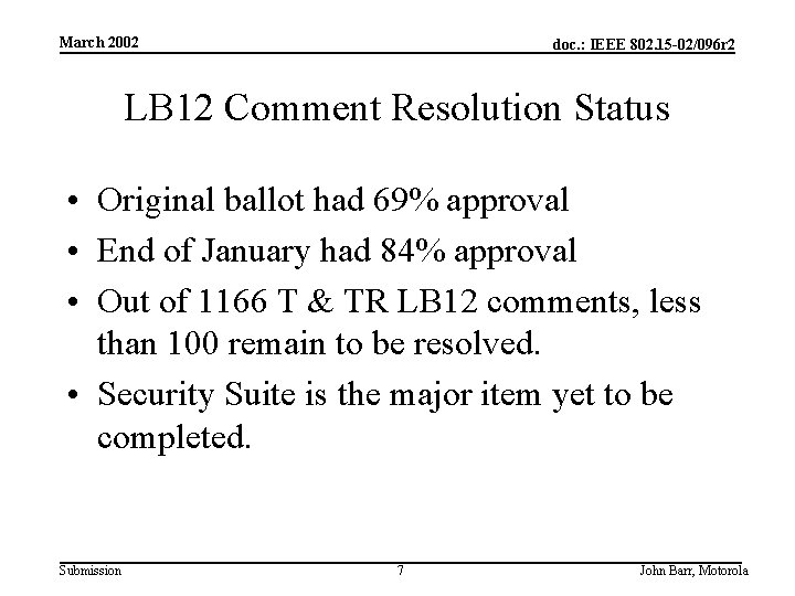 March 2002 doc. : IEEE 802. 15 -02/096 r 2 LB 12 Comment Resolution