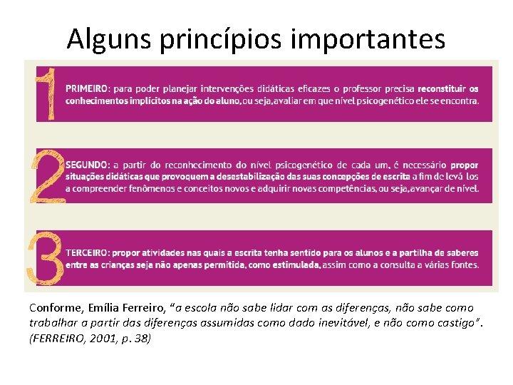 """Alguns princípios importantes Conforme, Emília Ferreiro, """"a escola não sabe lidar com as diferenças,"""