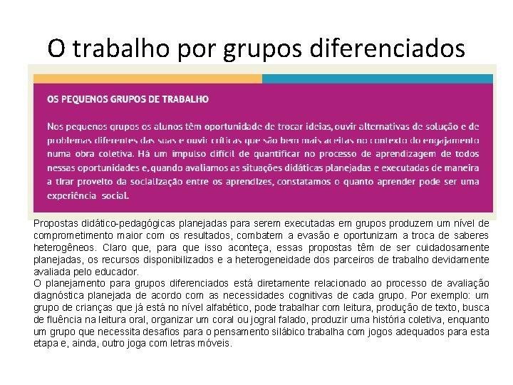 O trabalho por grupos diferenciados Propostas didático-pedagógicas planejadas para serem executadas em grupos produzem