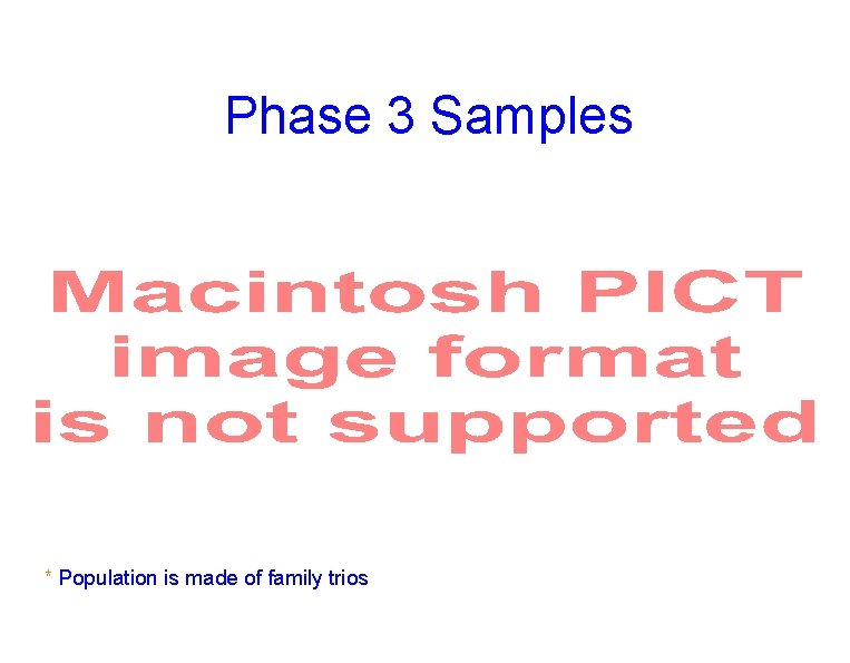 Phase 3 Samples * Population is made of family trios