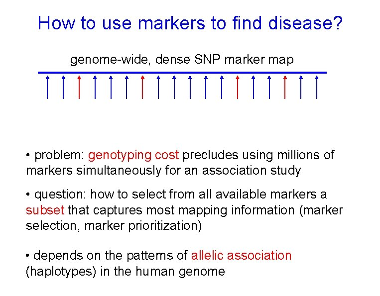 How to use markers to find disease? genome-wide, dense SNP marker map • problem: