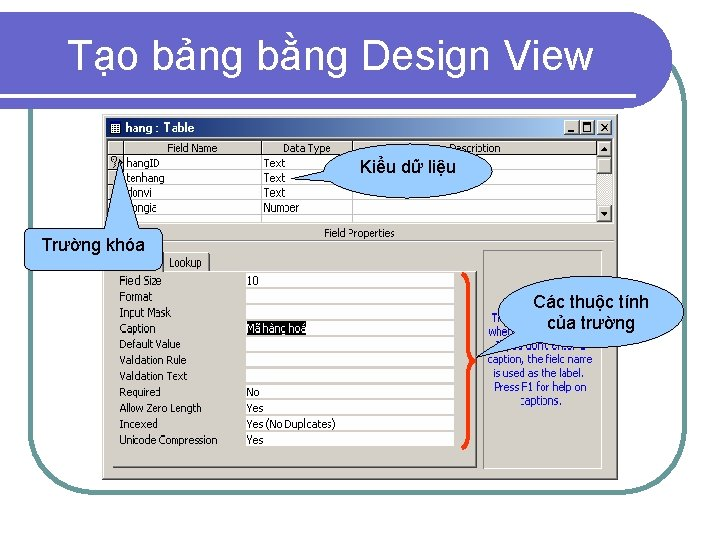 Tạo bảng bằng Design View Kiểu dữ liệu Trường khóa Các thuộc tính của