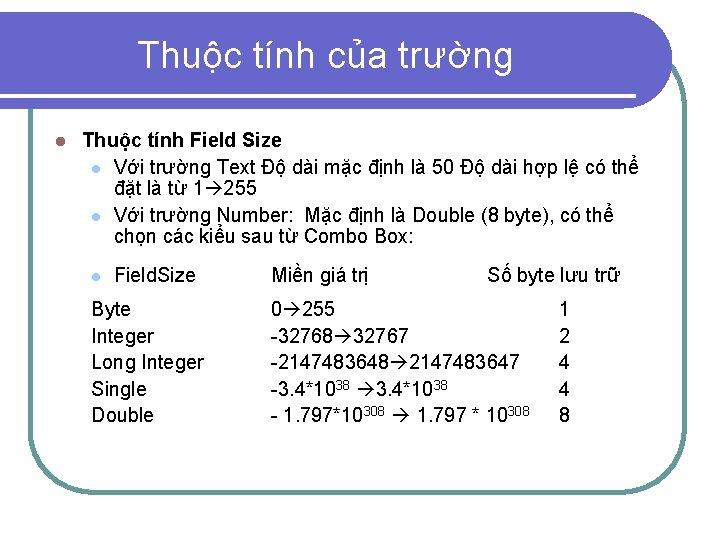 Thuộc tính của trường l Thuộc tính Field Size l Với trường Text Độ
