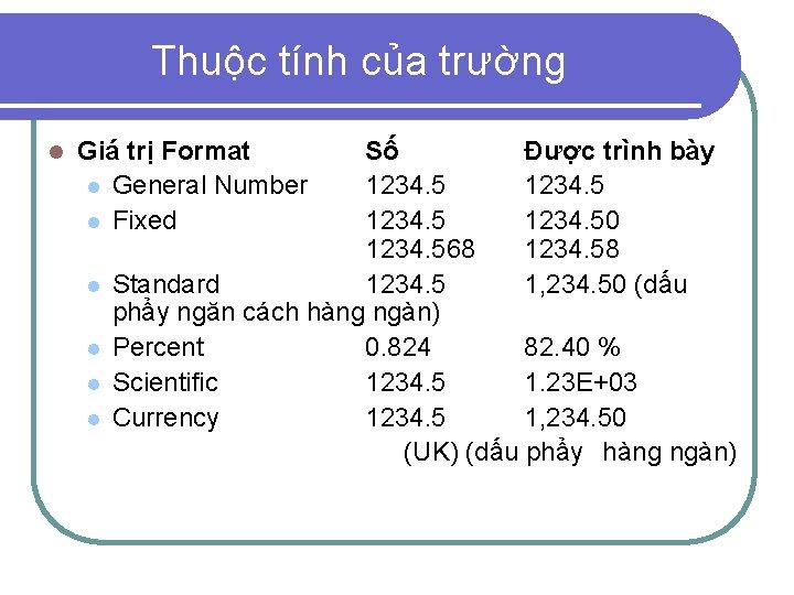 Thuộc tính của trường l Giá trị Format l General Number l Fixed l
