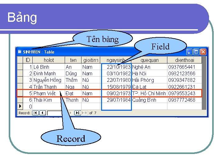 Bảng Tên bảng Record Field