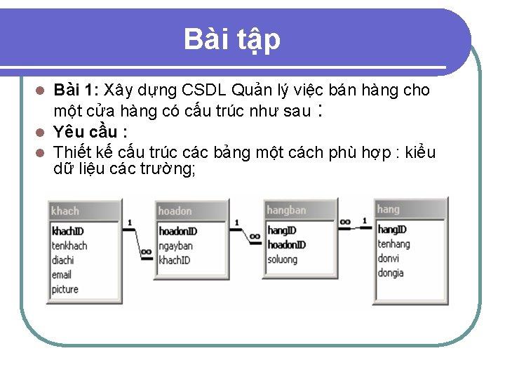 Bài tập Bài 1: Xây dựng CSDL Quản lý việc bán hàng cho một