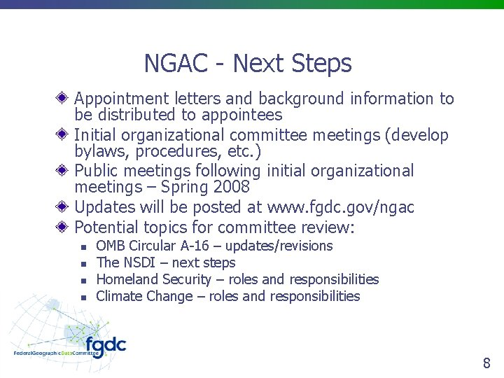 NGAC - Next Steps Appointment letters and background information to be distributed to appointees