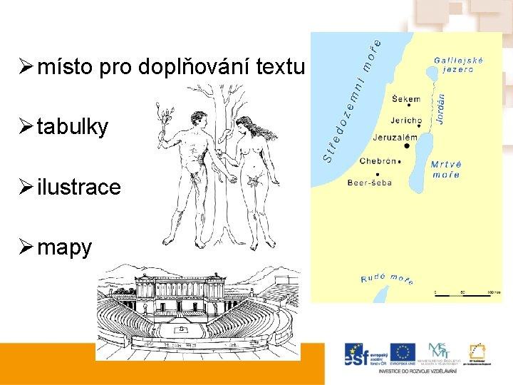 Ø místo pro doplňování textu Ø tabulky Ø ilustrace Ø mapy