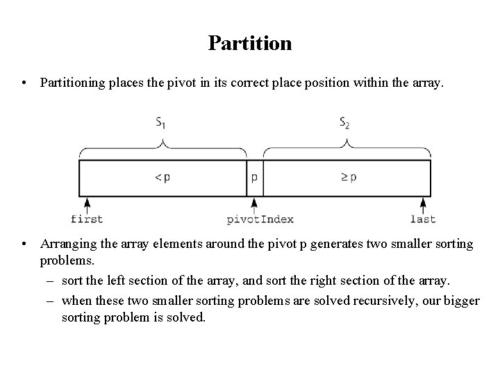 Partition • Partitioning places the pivot in its correct place position within the array.