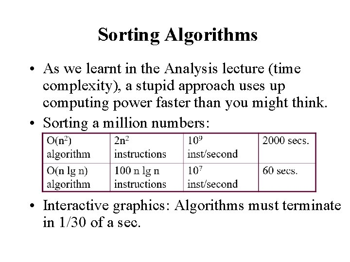 Sorting Algorithms • As we learnt in the Analysis lecture (time complexity), a stupid
