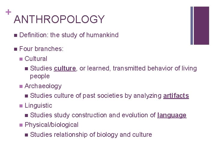 + ANTHROPOLOGY n Definition: the study of humankind n Four branches: n Cultural n