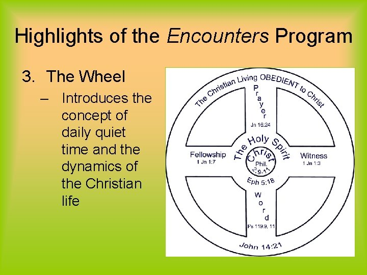 Highlights of the Encounters Program 3. The Wheel – Introduces the concept of daily