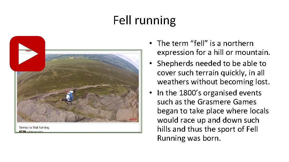"""Fell running • The term """"fell"""" is a northern expression for a hill or"""