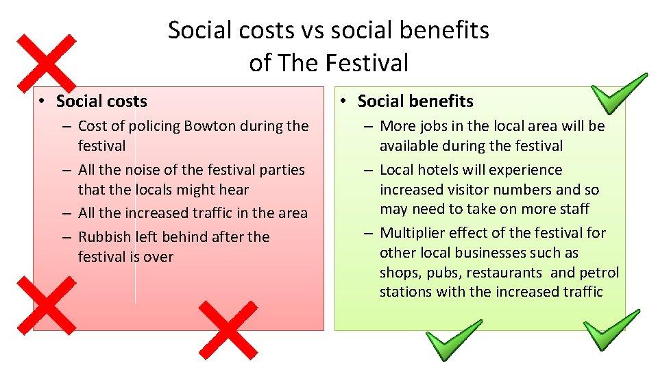 Social costs vs social benefits of The Festival • Social costs – Cost of