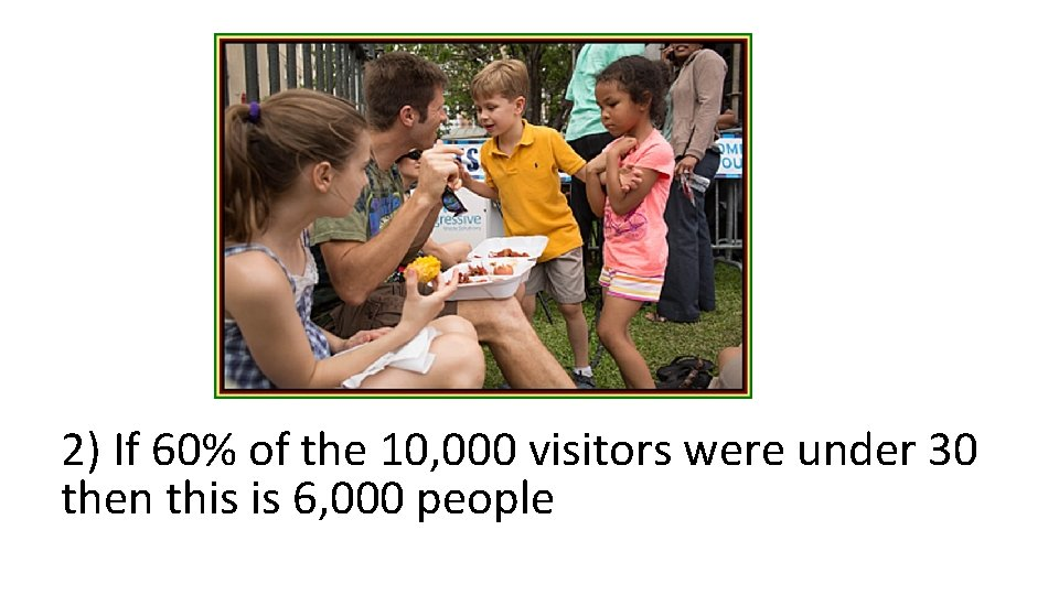 2) If 60% of the 10, 000 visitors were under 30 then this is