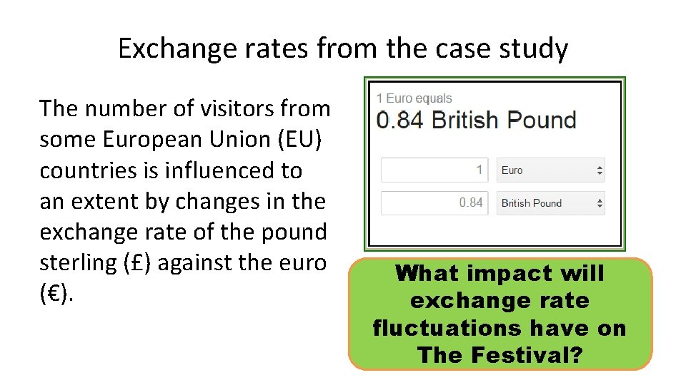 Exchange rates from the case study The number of visitors from some European Union