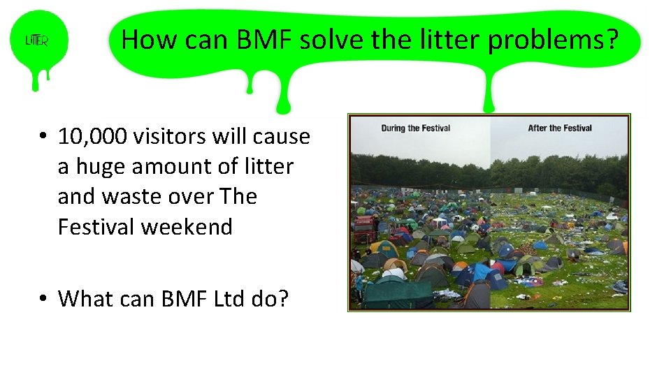 How can BMF solve the litter problems? • 10, 000 visitors will cause a