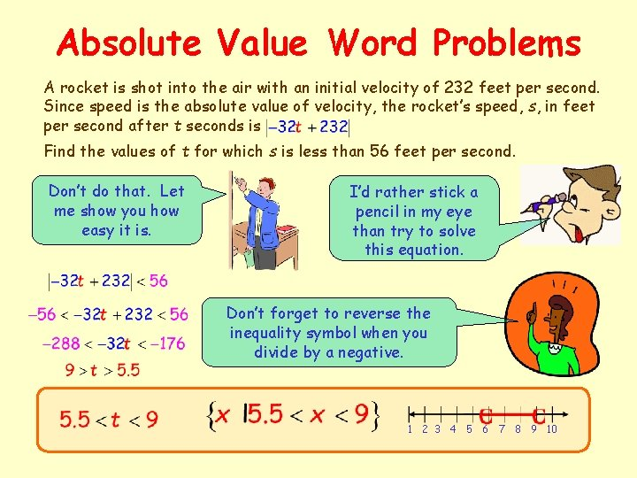 Absolute Value Word Problems A rocket is shot into the air with an initial
