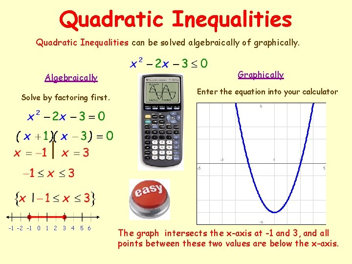Quadratic Inequalities can be solved algebraically of graphically. Algebraically Solve by factoring first. -1