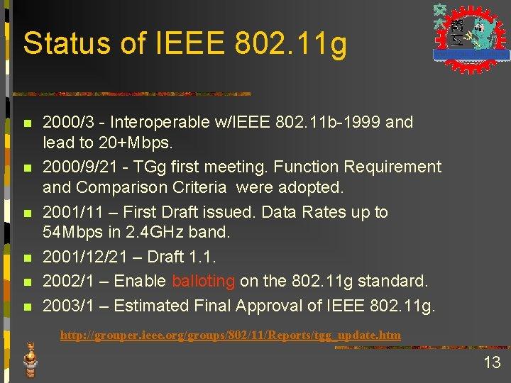 Status of IEEE 802. 11 g n n n 2000/3 - Interoperable w/IEEE 802.