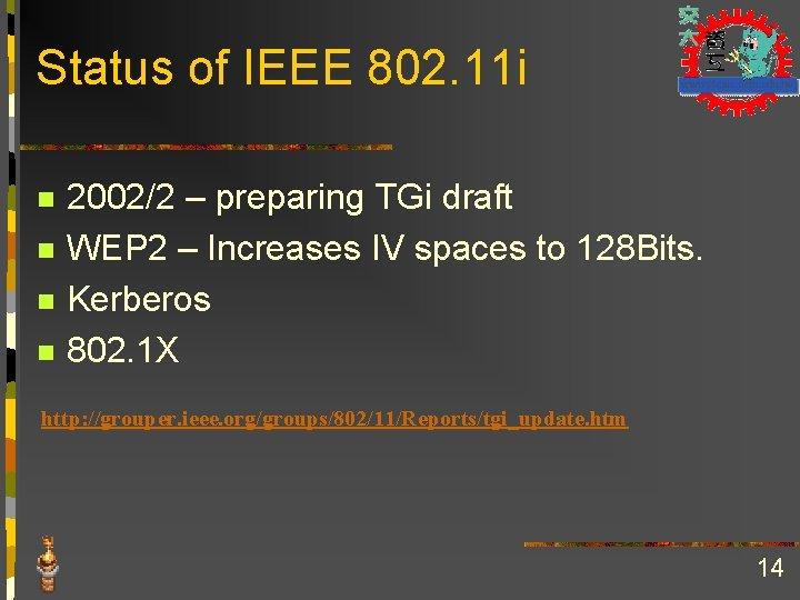 Status of IEEE 802. 11 i n n 2002/2 – preparing TGi draft WEP