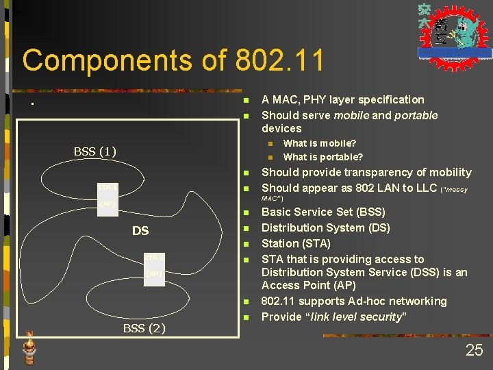 Components of 802. 11 . n n A MAC, PHY layer specification Should serve