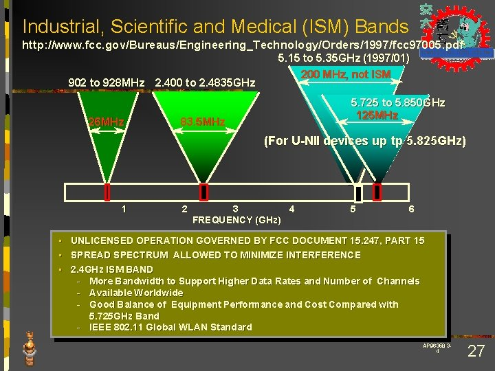 Industrial, Scientific and Medical (ISM) Bands http: //www. fcc. gov/Bureaus/Engineering_Technology/Orders/1997/fcc 97005. pdf 902 to