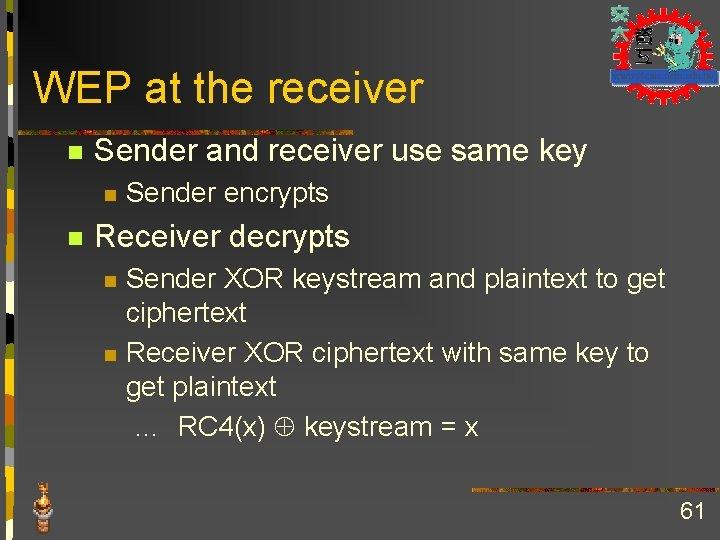 WEP at the receiver n Sender and receiver use same key n n Sender