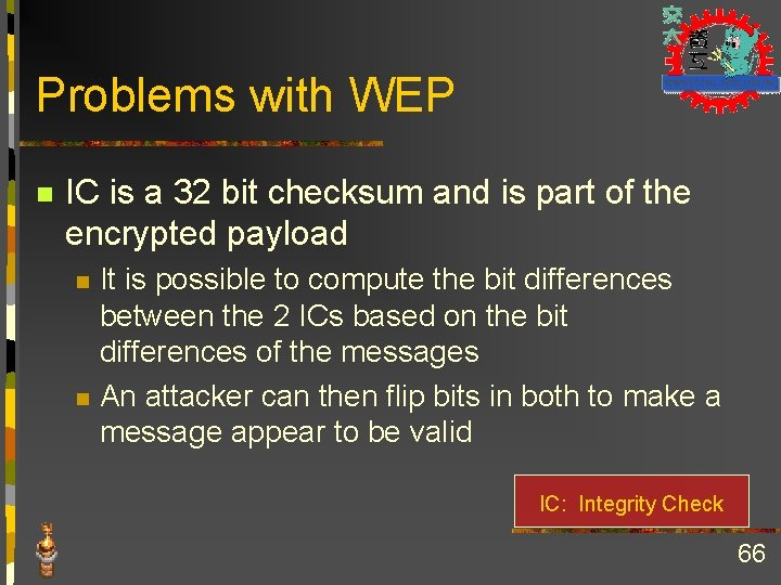 Problems with WEP n IC is a 32 bit checksum and is part of