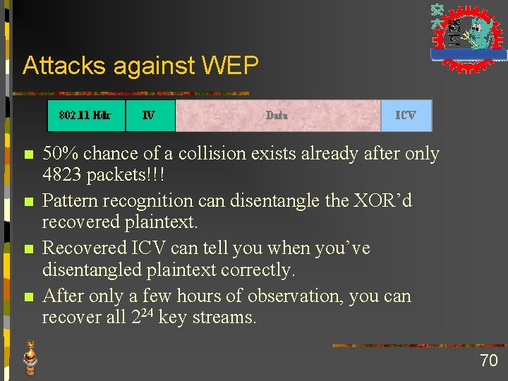 Attacks against WEP n n 50% chance of a collision exists already after only
