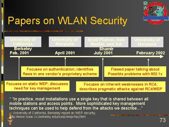 Papers on WLAN Security University of Scott Fluhrer, Itsik University of California, Maryland Mantin,