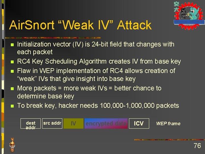 """Air. Snort """"Weak IV"""" Attack n n n Initialization vector (IV) is 24 -bit"""