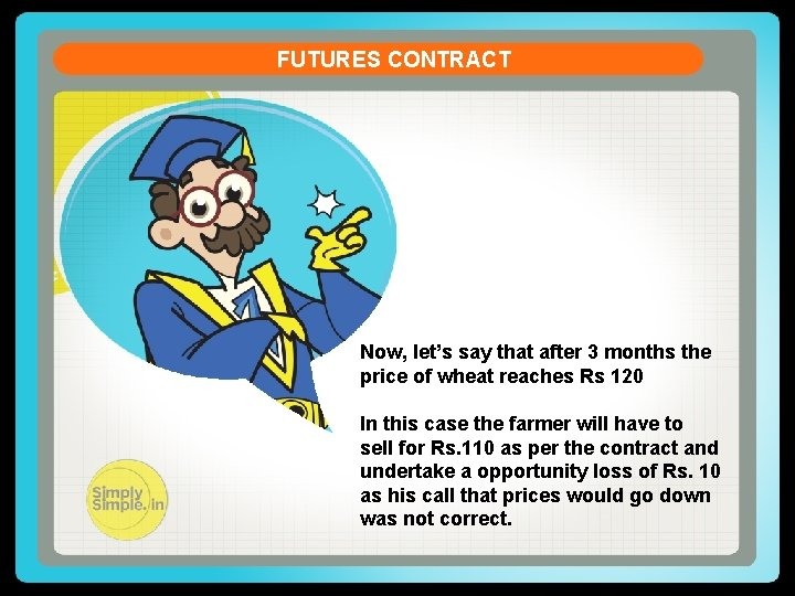 FUTURES CONTRACT Now, let's say that after 3 months the price of wheat reaches