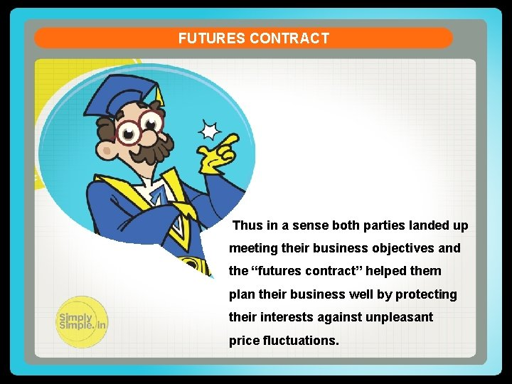 FUTURES CONTRACT Thus in a sense both parties landed up meeting their business objectives