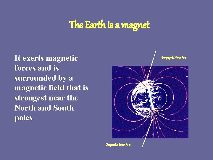 The Earth is a magnet It exerts magnetic forces and is surrounded by a
