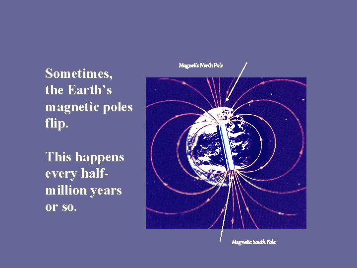 Sometimes, the Earth's magnetic poles flip. Magnetic North Pole This happens every halfmillion years