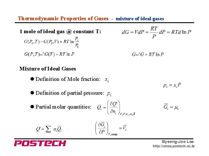 Thermodynamic Properties of Gases - mixture of ideal gases 1 mole of ideal gas