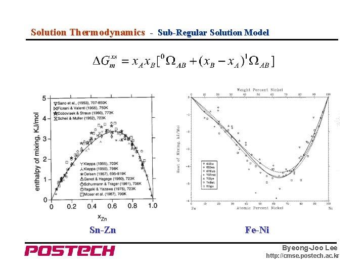 Solution Thermodynamics - Sub-Regular Solution Model Sn-Zn Fe-Ni Byeong-Joo Lee http: //cmse. postech. ac.