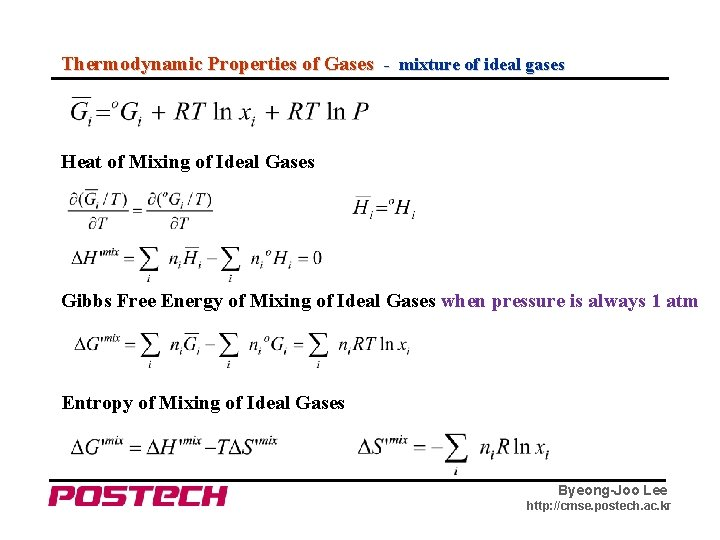 Thermodynamic Properties of Gases - mixture of ideal gases Heat of Mixing of Ideal