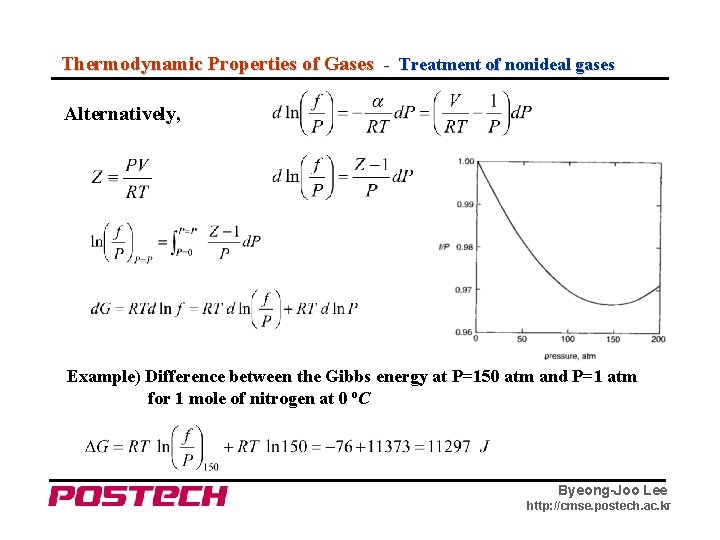 Thermodynamic Properties of Gases - Treatment of nonideal gases Alternatively, Example) Difference between the