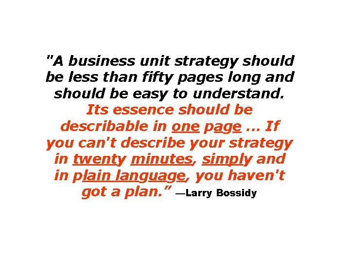 """""""A business unit strategy should be less than fifty pages long and should be"""