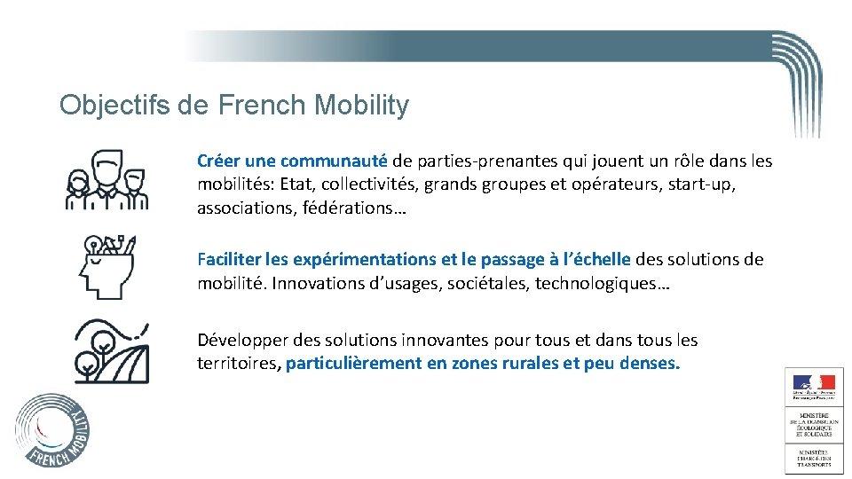 Objectifs de French Mobility Créer une communauté de parties-prenantes qui jouent un rôle dans