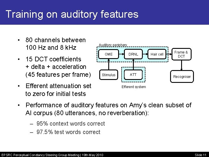 Training on auditory features • 80 channels between 100 Hz and 8 k. Hz