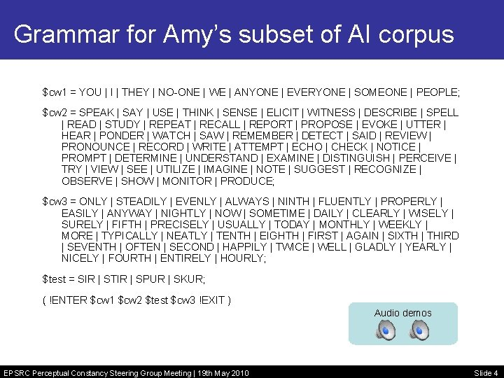 Grammar for Amy's subset of AI corpus $cw 1 = YOU | I |