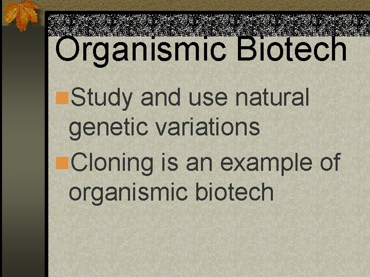Organismic Biotech n. Study and use natural genetic variations n. Cloning is an example